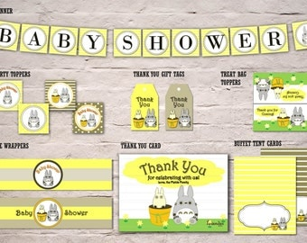 Yellow Totoro Party Package, Totoro Baby Shower Pack, Banner Topper Tag Bottle Wrapper Thank You Card, Tent, DIY Printable Instant Download