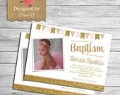 Baptism Invitation; CHristening, catholic baptism; Bautizo, Español and English girl baptism invite