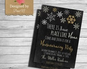 Winter housewarming invitation, new house party, home sweet home, there is snow place like home, silver gold chalkboard invite