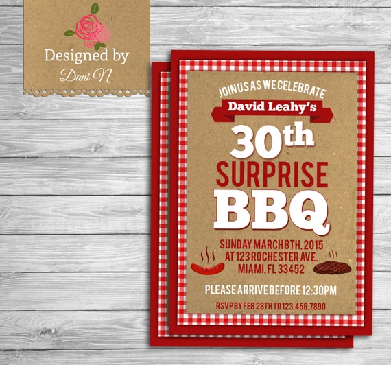 Adult Birthday INVITATION BBQ surprise 30th birthday invite – Surprise 30th Birthday Invites