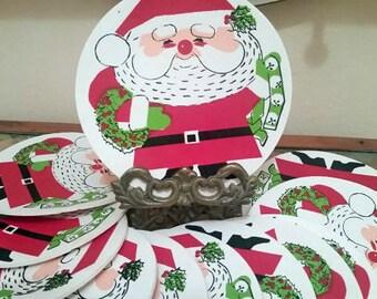 Set of 16 Vintage Reusable Santa Coasters Price Reduced