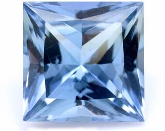 0.73 ct Custom cut Natural light violetish-blue Tanzanite. Princess cut Loose gemstone #0216