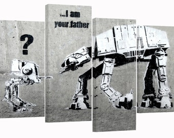 Banksy/ Star wars /I'm your father/set of 4 new canvas prints/ 34x22 in