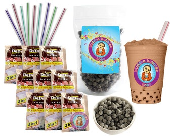 9 Drink DeDe Bubble Tea Kit Milk Tea Powder Boba Tapioca Pearls & 9 Fat Straws