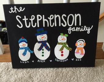 Personalized Snowman Holiday Family