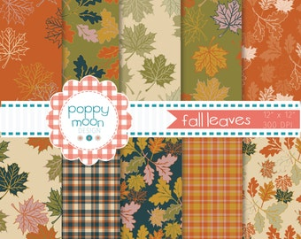 Fall leaves orange yellow green and blue pattern printable digital paper pack