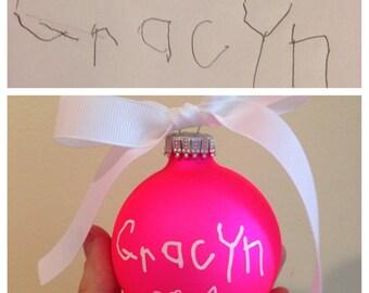 Child's signature name personalized ornament