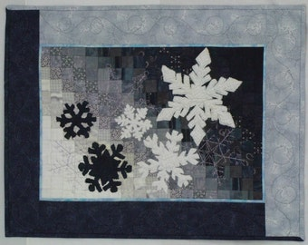 Textured Snowflake Fiber Art Quilted Wall Hanging