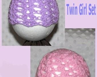 Newborn Baby Crocheted Beanies - Twin Girls Set