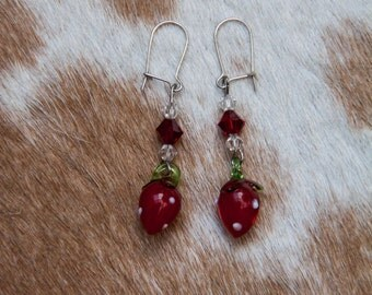 Glass Strawberry Earrings
