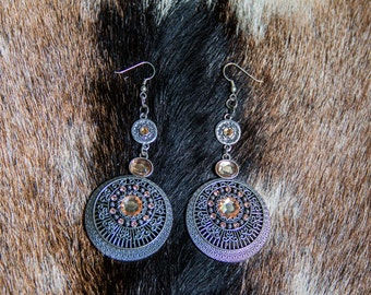 Circular Metal Crystal Earrings