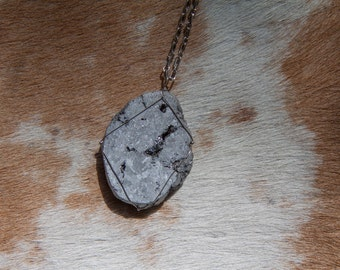 Silver Wire Wrapped Druzy Pendant Necklace