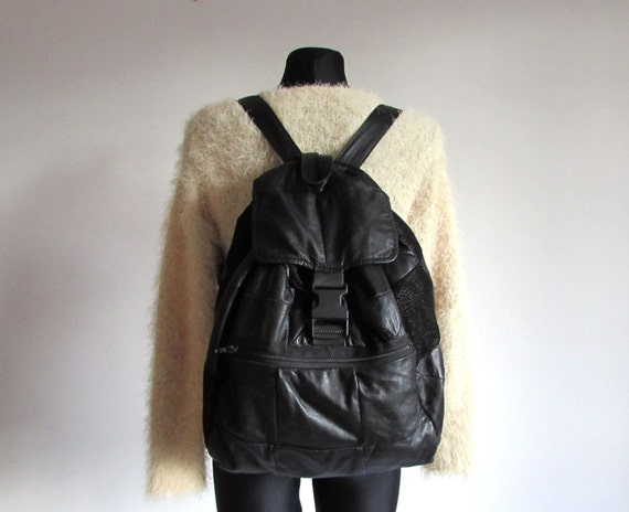 90s Large Black Soft Leather Back pack Purse BackPack Slouch