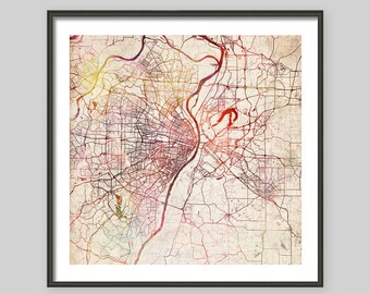 Saint Louis Map Missouri Watercolor Painting Old Paper Giclee Fine Art
