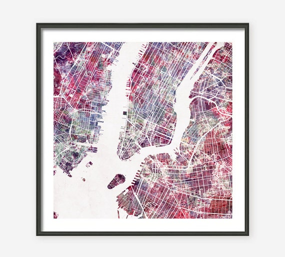 Watercolor New York: NEW YORK CITY Map Watercolor Painting Giclee Fine Art