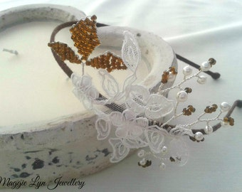 Beautiful Limited edition Bridal side headband / tiara with lace, Swarovski pearls & brown seed beads