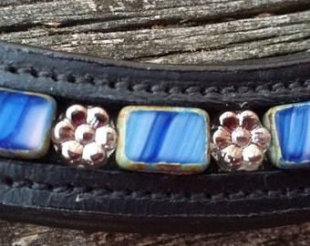 Color of Water: Dressage browband with czech Picasso beads and czech floral beads, blue and silver
