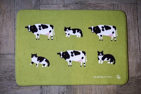 grand tapis doux super avec vache et chat animaux tapis bain. Black Bedroom Furniture Sets. Home Design Ideas