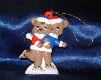 Teddy Bear Skaters Ornament - Bear Ornaments - Ceramic Ornaments - Christmas Ornaments - Teddy Bear Ornament