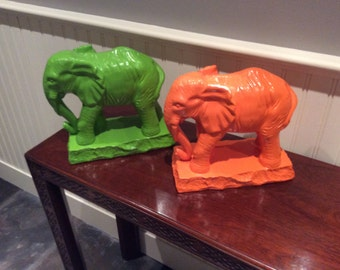Colorful Elephants (Orange and Green)