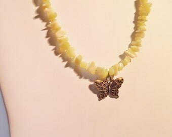 Yellow Jade chips and butterfly
