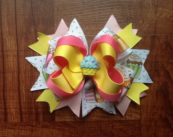 Cupcake stacked Hair Bow Boutique Hair Clip