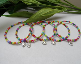 Girls set of 5 Ankle Bracelets with Heart charms, Girls Party favors, Tween anklets, girls anklets, Anklet Party Favors