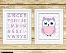 I Love Heart You Alphabet Pink Purple Owl Wall Art Nursery Girl's Room Decor ABC's Printable Set of 2 11x14 Digital JPG Instant Download- 54