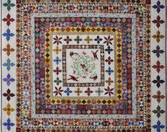 Rajah Revisited Quilt by Lessa Siegele at 2 Sew Textiles .PDF Reproduction of the Famous Quilt.  Machine pieced or Paper Pieced & Applique.