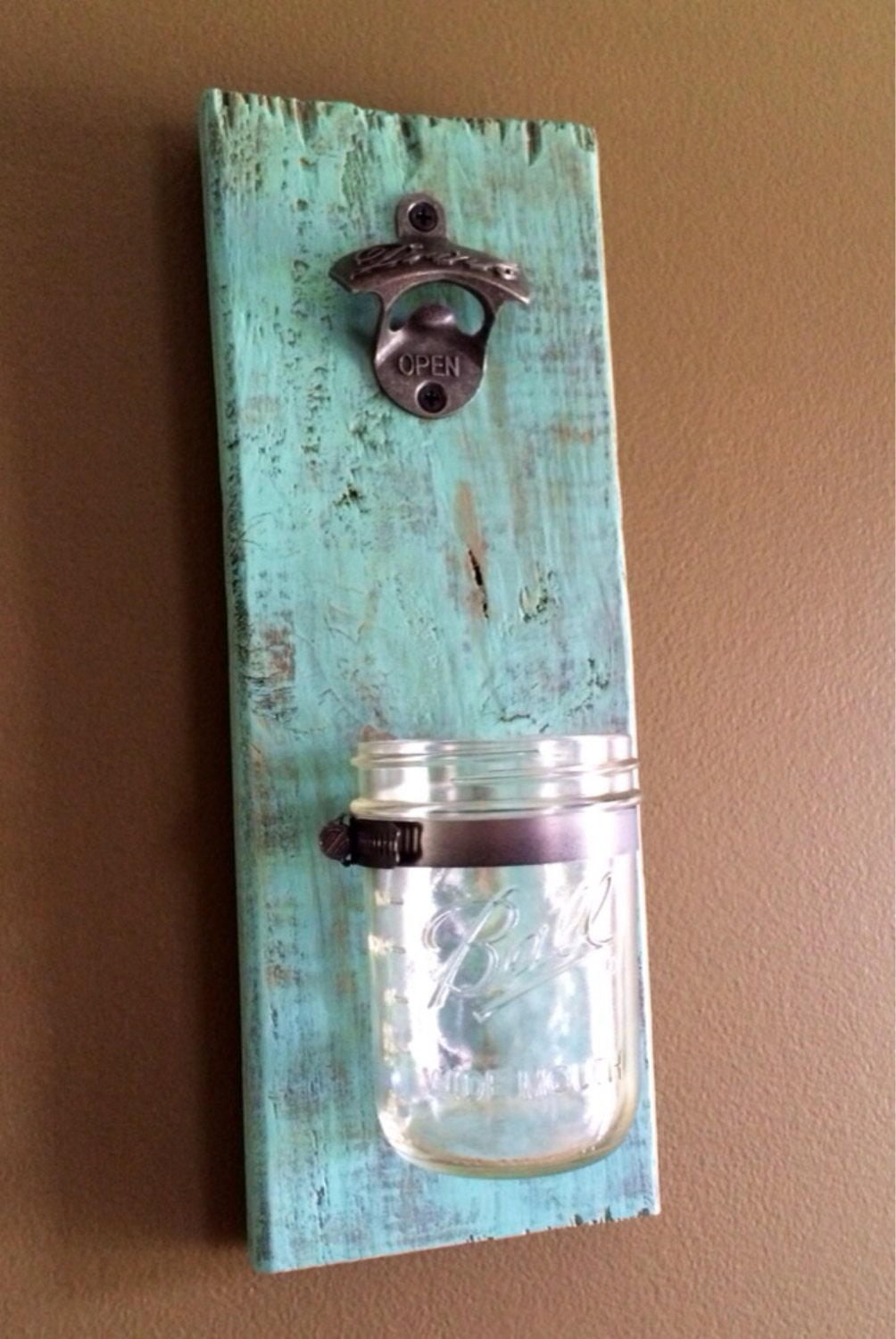 Mason Jar Bottle Opener Wall Mounted Bottle Opener Rustic