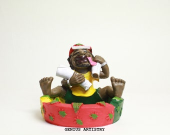 Smoking Jamaican Man with Ashtray Unique Art/Office/Home décor collectible handmade