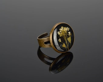 Retro Ring, Resin Flower Ring, Resin Ring, Unique Ring, Handmade Ring, Ring For Girlfriend, Epoxy Jewelry, Vintage Jewelry, Girl Gifts