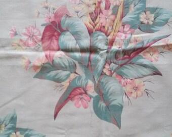 "Vintage 1950's Puritan Barkcloth Print Tropical Arrangement Called Mayfair Fabric 24"" x 48"