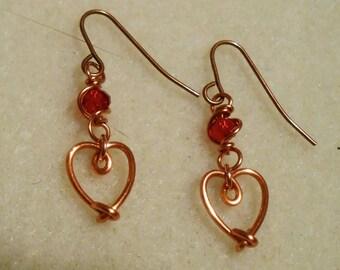 Sale! Celtic Elven Heart With Jewel Earrings In Copper