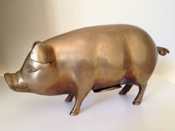 Items Similar To Vintage Large Brass Piggy Bank W Screw On Stopper And A Beautiful Patina Solid