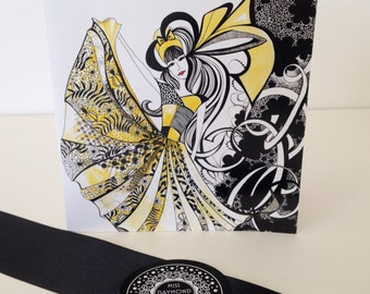 Black white and Yellow Ink Illustrated Blank Greeting Card - ' Miss Daffodil'