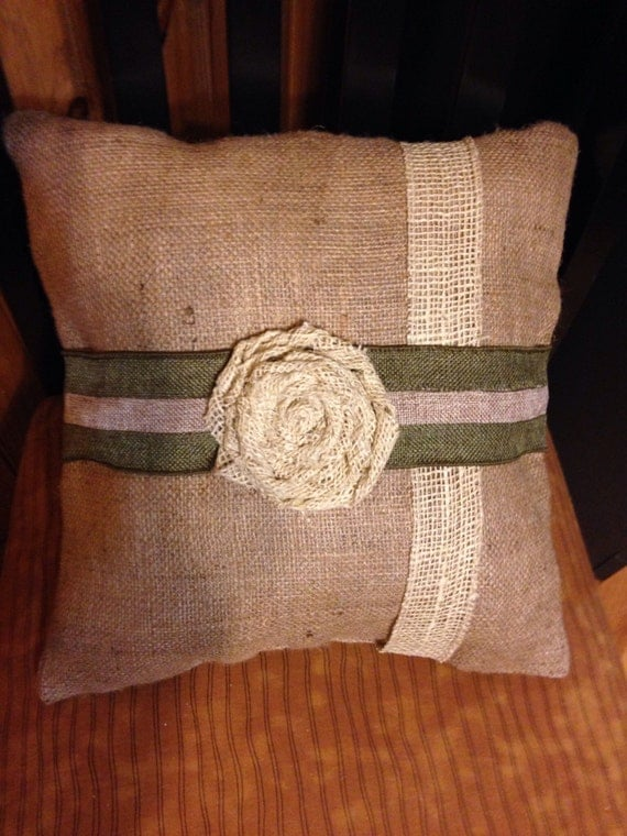 Custom made 14 burlap throw pillow with by ThePrettyPallet on Etsy