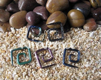 """Dichroic Glass Square or Triangle Ear Spiral Shapes 10g 8g 6g 4g 2g 0g 00g 7/16"""" 1/2"""" 9/16"""" 5/8"""" 2.5 mm 3 mm 4 mm 5 mm 6 mm 8 mm - 16 mm"""