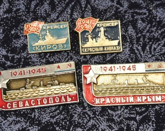 Vintage Set 4 pin  Badges from USSR- Soviet Warships of the Second World War - Russian badge
