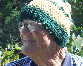 Green and Yellow Striped Ski Cap