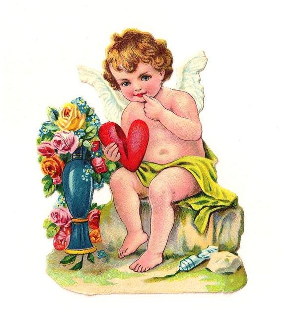 Engel mit roten Herzen Partei. Antike Die Ausschneiden Figur 12 cm. Deutschland. 1920 Vintage.