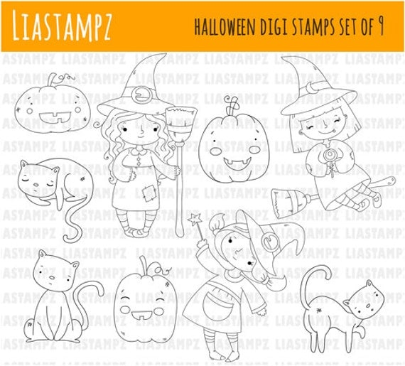 Digital stamp - Witch  Girl. Halloween digital stamp.clip art digital stamp. pumpkin stamp.cat stamp. LiaStampz