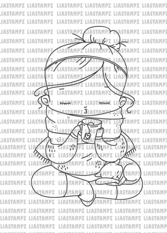 Digital stamp - Cozy Christmas digital stamp. christmas digital stamp. Autumn digi stamp. cat digi. LiaStampz