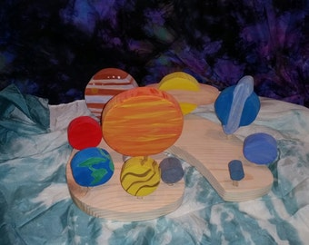Wooden Solar System with a stand