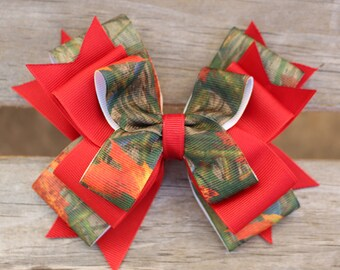 Real Camo Hair Bow Red Hunter Bow, Camouflage Bow