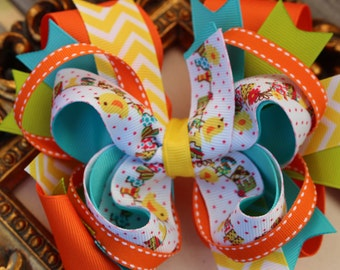 Happy Easter Hair Bow- Boutique Bow - Hairbows for Easter- Multicolor Boutique Bow- Orange Hair Bow- Boutique Hair Bow- Large Bow