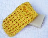 All Cotton Bright Yellow Crocheted Soap Bag, Soap Saver or Cell Phone Holder