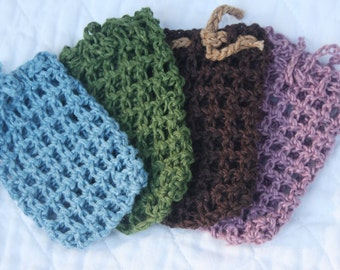 Hemp Soap Bags, Set of Two (2) Crocheted Hemp Soap Savers, Eco-friendly Soap Pouches, Exfoliating Soap Sacks, Shower Socks