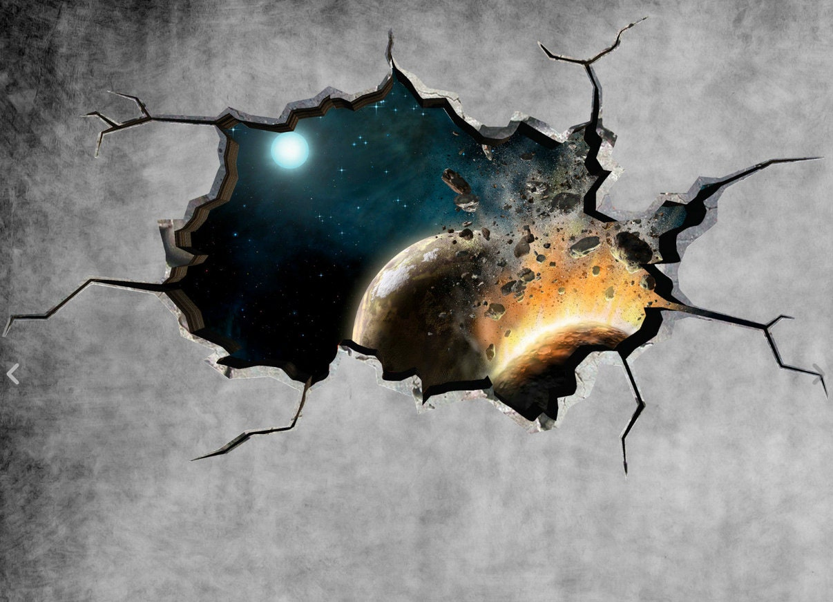 space wall decal planet galaxy cracked wall sticker stars zoom