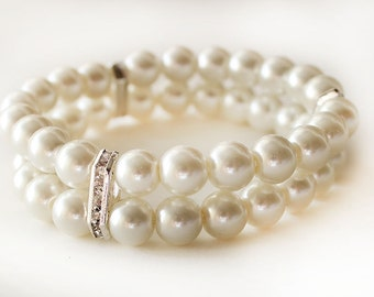 Wedding bracelet, bridesmaid pearl bracelet, pearl cuff bracelet, wedding jewelry, bridesmaid gift, rhinestone rondelles crystal bracelet